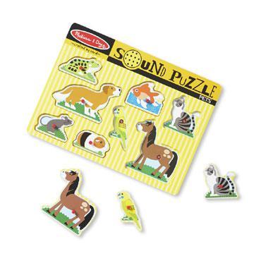Melissa & Doug houten puzzel met geluiden huisdieren 8 stukjes v