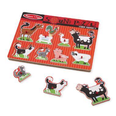 Melissa & Doug houten puzzel met geluiden Boerderij Dieren 8 stu