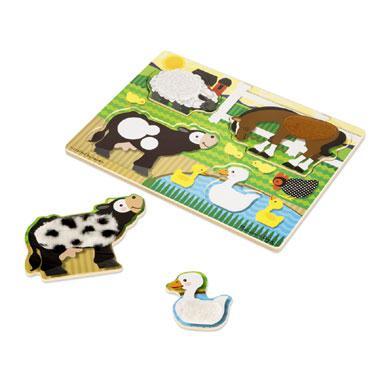 Melissa & Doug Houten aanraak en voel puzzel boerderij dieren 4