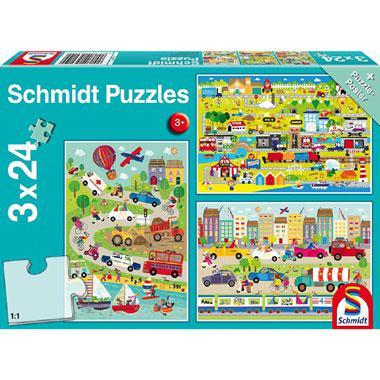 Schmidt kinderpuzzel Bonte wereld van voertuigen 24 stukjes vana