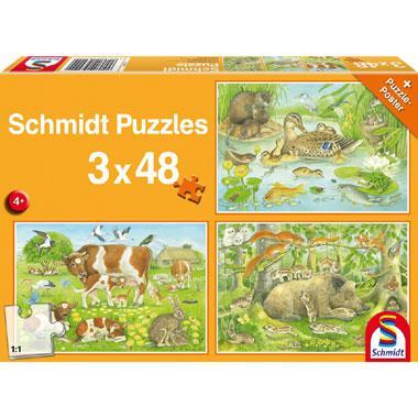 Schmidt kinderpuzzel Dierenfamilies 48 stukjes vanaf 4 jaar
