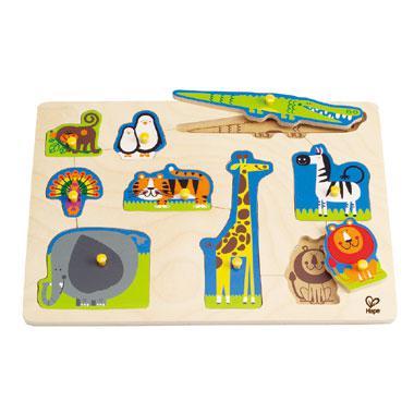 Hape knop kinderpuzzel Wilde Dieren 9 stukjes 9 stukjes vanaf 2