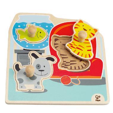 Hape knop kinderpuzzel Huisdieren 3 stukjes voor peuters