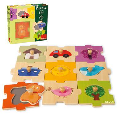 Goula houten kinderpuzzel Variatie 18 stukjes vanaf 2 jaar