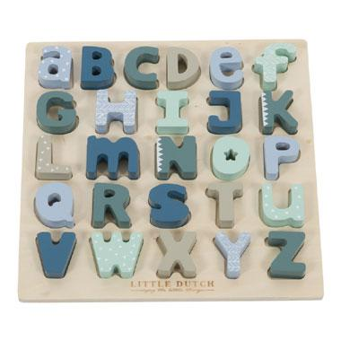 Little Dutch mixed stars blue houten vormpuzzel Letters 26 stukj