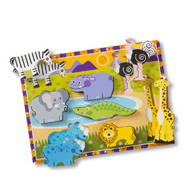 Melissa & Doug Dikke houten kinderpuzzel Safaridieren 8 stukjes