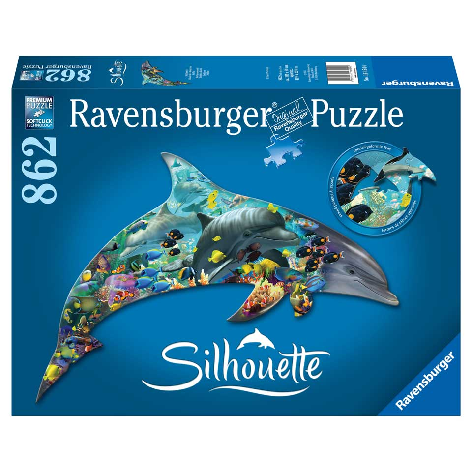Ravensburger silhouettepuzzel dolfijnenwereld