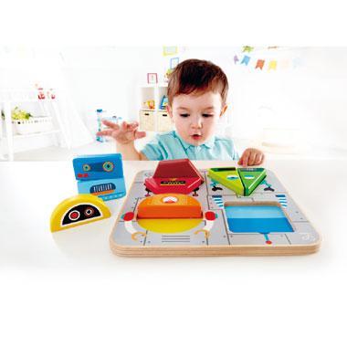 Hape houten vormen kinderpuzzel Robotjes 9 stukjes voor peuters