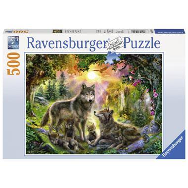 Ravensburger puzzel wolvenfamilie in de zonneschijn 500 stukjes