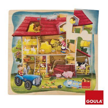 Goula houtenpuzzel boerderij 9 stukjes voor peuters