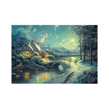 Puzzel Kinkade maanlicht in de winter 500 stukjes