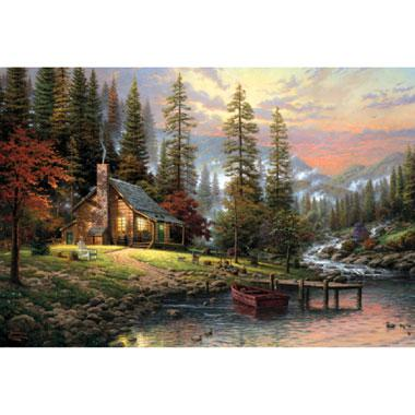 Puzzel Kinkade huis in de bergen 500 stukjes