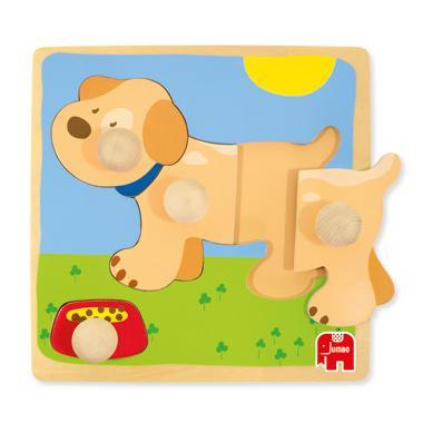 Goula houten inlegpuzzel hond 4 stukjes voor peuters