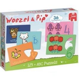 Puzzel Woezel en Pip ABC en 123 36 stukjes vanaf 3 jaar